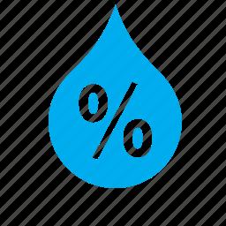 drop, droplet, meteorology, percentage, rain, water, weather icon