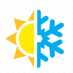 meteorology, snow, snowflake, sun, weather icon