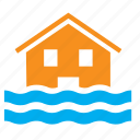 flood, floods, house, hurricane, overflow, typhoon, weather icon