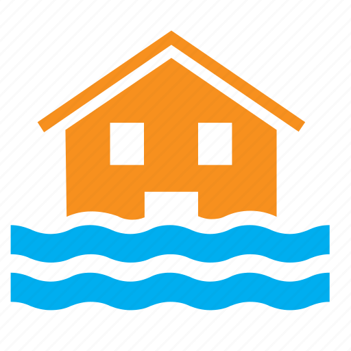 flood, floods, house, hurricane, overflow, typhoon, weather icon