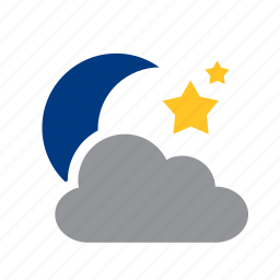 cloud, cloudy, meteorology, mooon, stars, weather icon