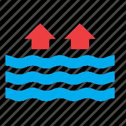 high, meteorology, ocean, sea, tide, water, weather icon