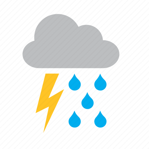 cloud, lighting, rain, raining, ray, storm, weather icon