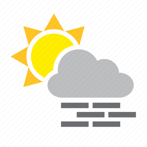 cloud, cloudy, fog, meteorology, mist, sun, weather icon
