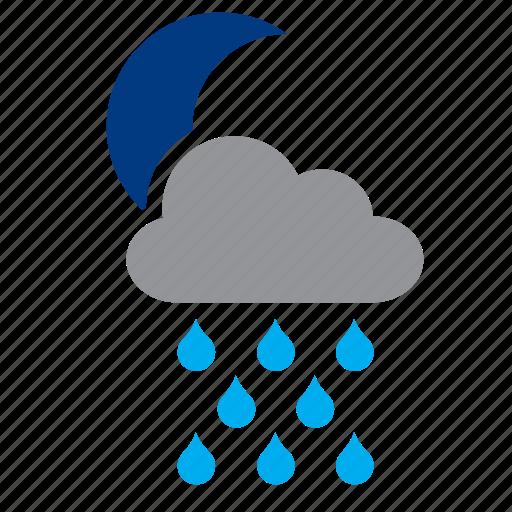 cloud, meteorology, moon, rain, weather icon