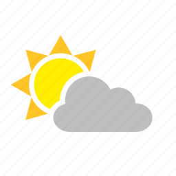 cloud, cloudy, meteorology, sun, weather icon