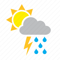 cloud, lighting, rain, ray, storm, sun, weather icon