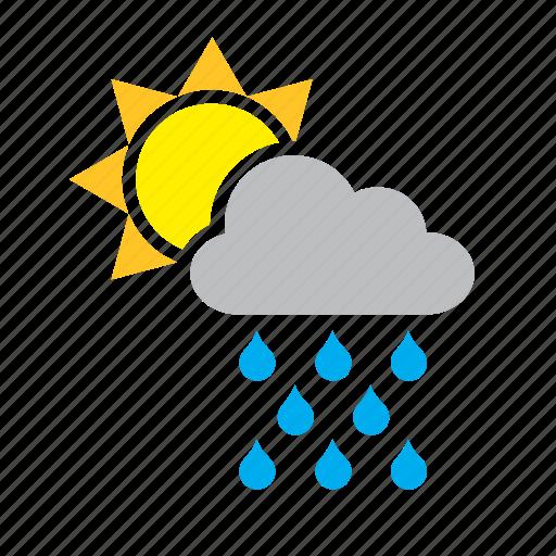 cloud, meteorology, rain, raining, sun, weather icon
