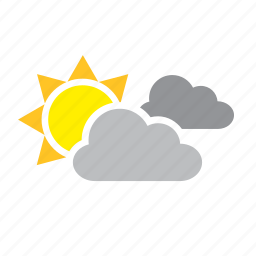 clouds, cloudy, meteorology, sun, weather icon