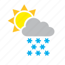 cloud, meteorology, snow, snowing, sun, weather icon