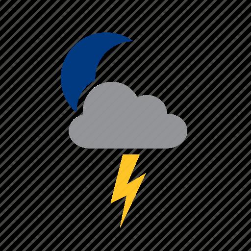 cloud, lighting, meteorology, moon, ray, storm, weather icon