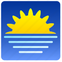 horisont, sea, sun, weather icon