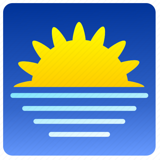 horisont, sea, sun, weather icon