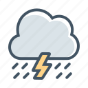 cloudy, forecast, lightning, rain, storm, thunder, thunderstorm icon