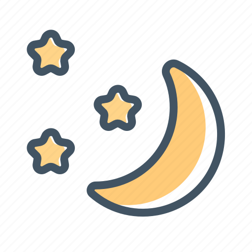 moon, night, night sky, nightime, stars, weather icon