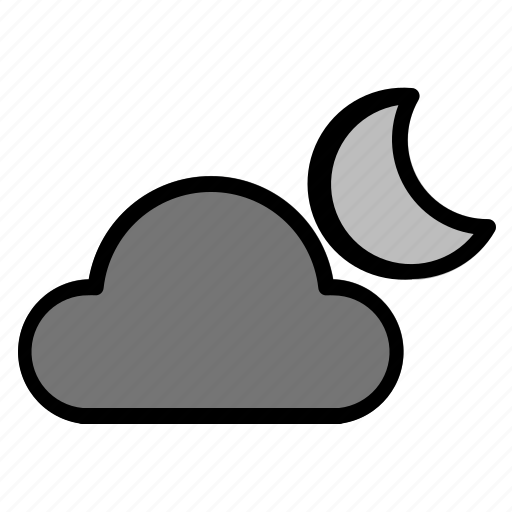 cloudy, moon, night, weather icon