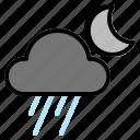 night, rain, weather icon