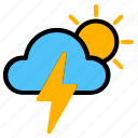 morning, storm, thunder, weather icon