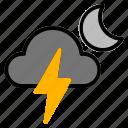 night, storm, thunder, weather icon