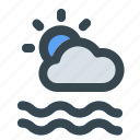 cloud, sea, summer, sun, water, wave, weather icon