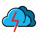 cloud, storm, thunder, weather icon