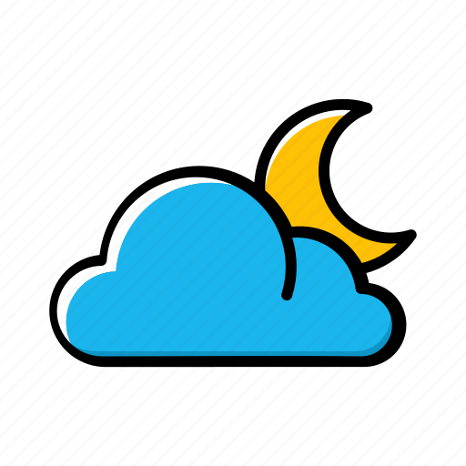 cloud, crescent, half, moon, night, weather icon