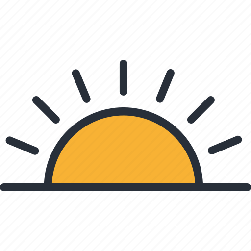 climate, forecast, morning, sun, sunny, sunrise, weather icon