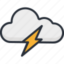 cloud, forecast, lightning, rain, storm, thunder, weather icon