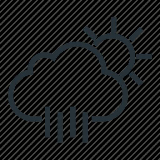 cloud, rain, rainty, sun, sunny, weather icon
