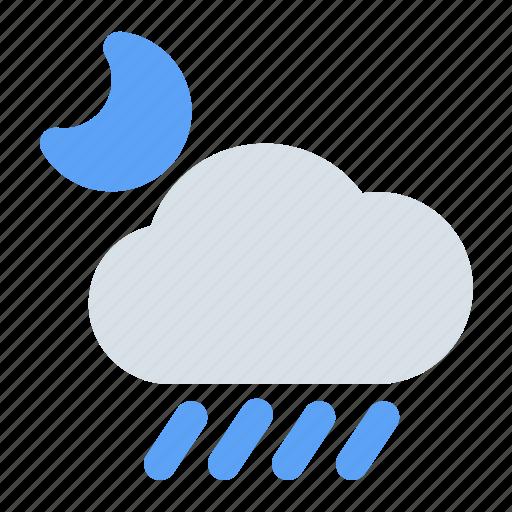 cloud, drop, moon, rain, rainy, water, weather icon