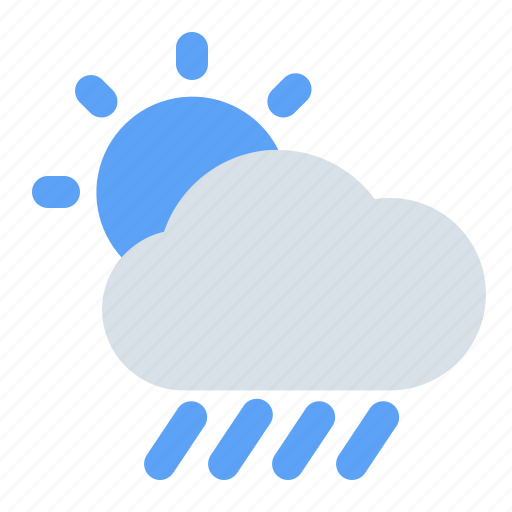 cloud, rain, rainy, sun, sunny, water, weather icon