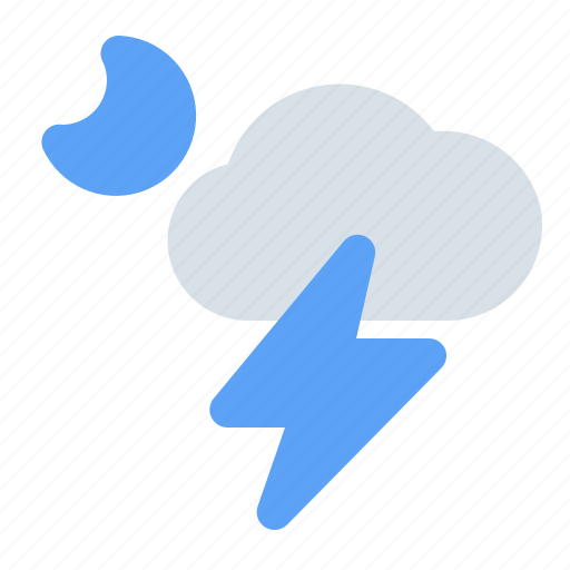 cloud, lightning, moon, night, storm, thunder, weather icon
