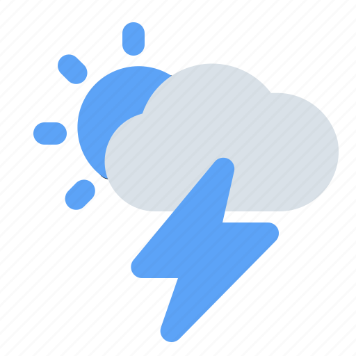 cloud, lightning, storm, sun, sunny, thunder, weather icon