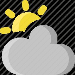 climate, cloud, cloudy, overcast, sky, sun, weather icon