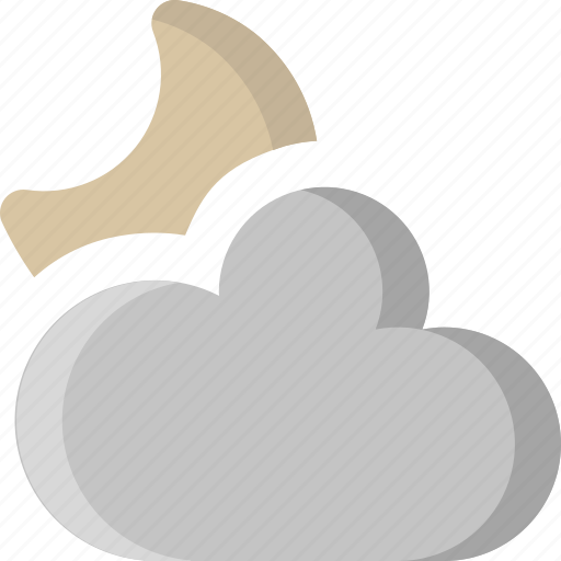 cloud, cloudy, moon, night, overcast, sky, weather icon