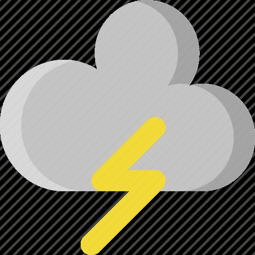 cloud, drop, lightning, rain, storm, thunder, weather icon