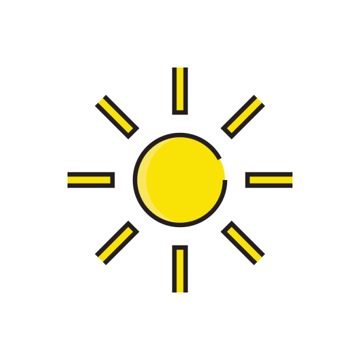 cloudless, heat, meteorology, sign, sun, weather icon