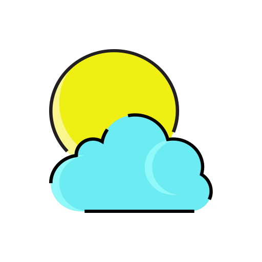 cloud, cloudy, meteorology, rain, sun, weather icon