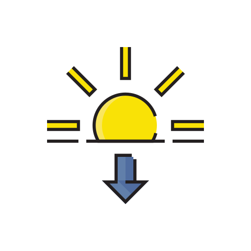 evening, meteorology, sign, sun, sunset, weather icon
