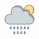 cloud with sun, rain, weather icon