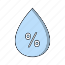 humidity, precipitation, water drop icon