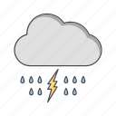 cloud, lightning, rain icon