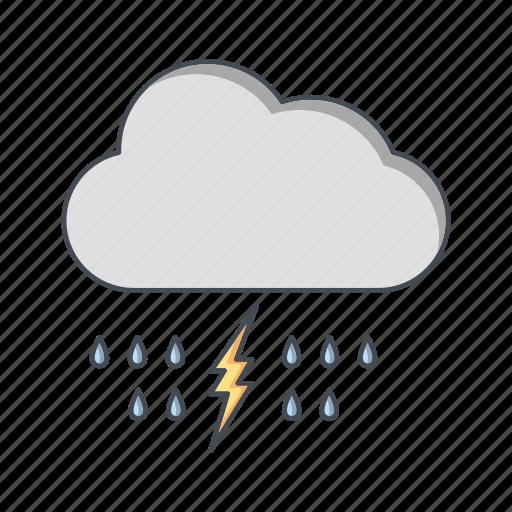 cloud, lightning, rain icon