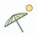 beach, beach umbrella, vacation icon