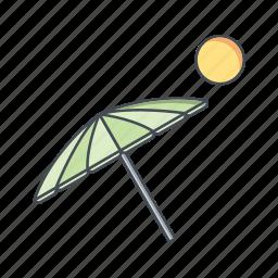 beach, beach umbrella, vacation icon