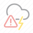 danger, exclamation, extreme weather, forecast, lightning, storm, warning icon