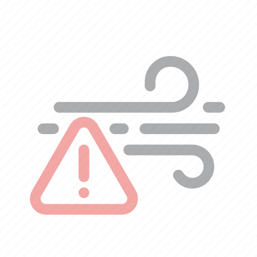 danger, exclamation, extreme weather, forecast, warning, wind, windy icon