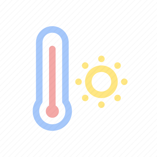 forecast, hot, summer, temperature, thermometer, weather icon