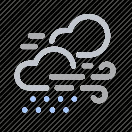 Forecast, rain, raining, showery weather, wind, windy icon - Download on Iconfinder