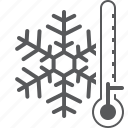 cold, freeze, snowflake, thermometer, weather icon